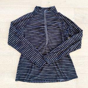 Athleta half zip pullover striped top black grey xl